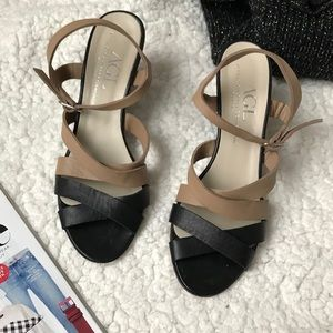 AGL soft leather tan black wedges shoes